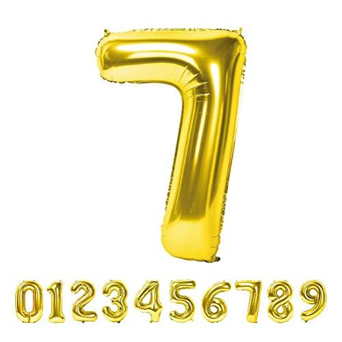 Globo Número Gigante Metalizado – Numeros Gigantes y Metalizados 0 1 2 3 4 5 6 7 8 9, 30 40 50 - Globos para Fiesta y Decoración – Globos de Cumpleaños Boda y Aniversario (Oro, 7)