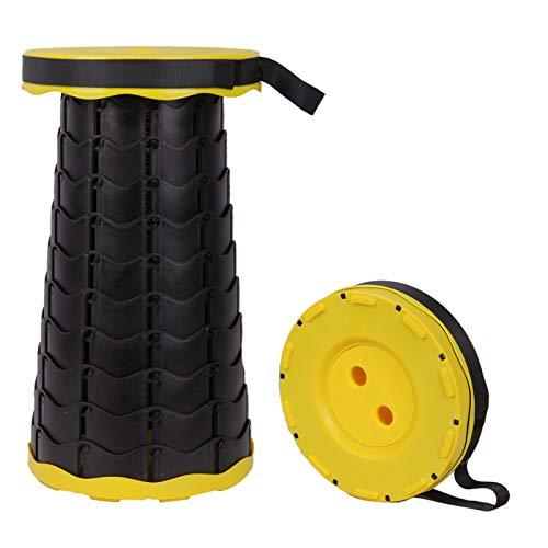Urijk Klapphocker, tragbar, Teleskop-Hocker, Camping, leicht, für Angeln, Grillen, Indoor, Outdoor-Aktivitäten, maximale Belastung 150 kg (Gelb)