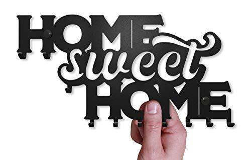 M-KeyCases Schlüsselbrett Home Sweet Home Wand-Organizer (10-Haken) Rustikaler Schlüssel-Board Hakenleiste Schlüsselleiste Vintage Decor Haus-tür Küche Fahrzeug-schlüssel Aufhänger Schwarz