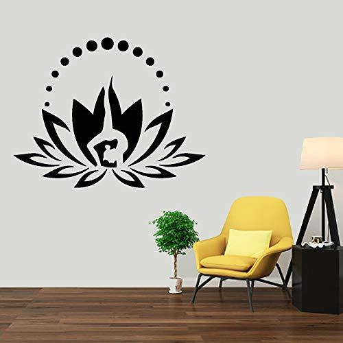 Etiqueta de vinilo de Lotus, etiqueta de meditación yoga zen, decoración de dormitorio de estilo boho, etiqueta de ventana, decoración de pared de mandala 53x42cm
