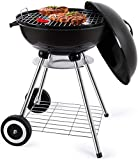 BBQ Kettle Charcoal Grill Outdoor Portable Grill Backyard Cooking Stainless Steel for Standing & Grilling Steaks, Burgers, Backyard Pitmaster & Tailgating (18' Black Kettle Grill)