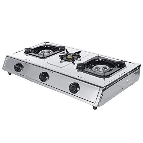 Estufa de gas de 3 quemadores de acero inoxidable de 1 pieza, estufa de cocina para el hogar, calienta los alimentos de manera rápida y uniforme