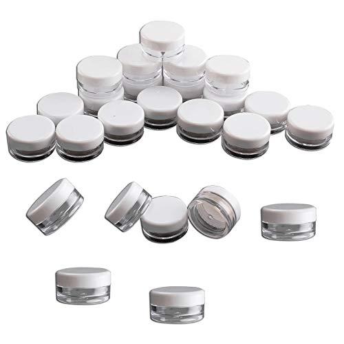 PetHot 100 Piezas de 5ML Plástico Claro Pequeño Frasco Jarra Macetas Vacía Viaje de Muestra Recipientes Redondo Mini Brillo Nail Art Herramientas de Almacenamiento