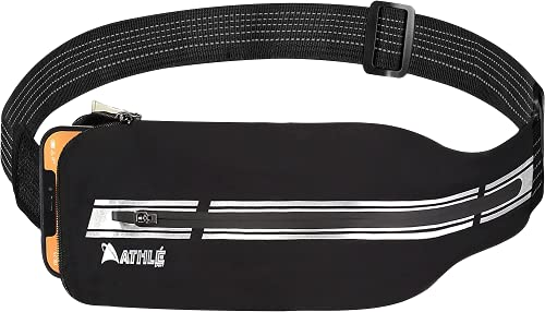 Athle Sport Reflective Running Belt Waist Pack - Running Phone Belt With Phone and Storage Pouch, Adjustable Slim Stretch Walking Belt - For Running, Jogging, Dog Walking, Biking and More