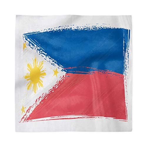Ambesonne Filipino Decorative Napkins Set of 4, Brush Stroke Style Grungy Philippines National Flag Print, Satin Fabric for Brunch Dinner Buffet Party, 18' x 18', Cobalt Blue Yellow