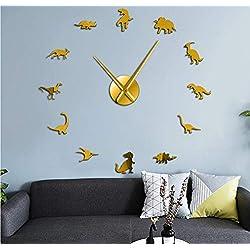 FANGMINGLEI Fangmingleidinosaur Wall Hanging Art Tyrannosaurus DIY Wall Clock Acrylic Kids Room Decoration Giant Frameless Wall Clock Dinosaur Modern Clock