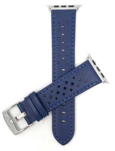 Bandini Ersatzlieferung Uhrenarmband für Apple Watch 42mm, Blau Leder, Perforiert, Stil Gt Rally
