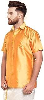 SJS-Men's Half Sleeve Solid Art Silk Shirt (Light Orange, 36)
