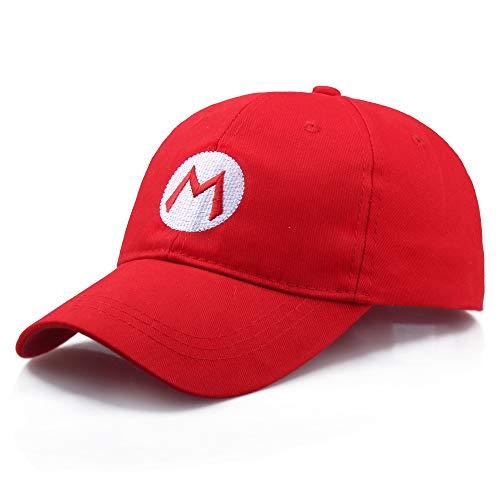SUPER Q Mario Bros Baseballmütze für Erwachsene, Kostüm, Cosplay, Halloween, Hut, rot