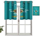 Hiiiman Paneles de cortina con ojales en la parte superior, con diseño de pájaros en cuerdas y nubes, juego de 2, 137 x 91 cm, aislamiento térmico para sala de estar