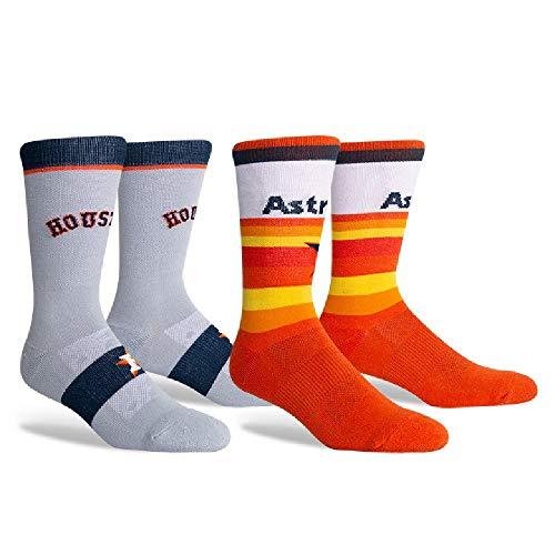 PKWY Unisex 2-Pack Houston Team Crew Socks (Large (Men