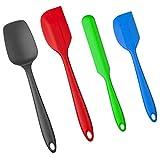 Amazon Brand – Umi – Juego de espátulas de silicona, 4 piezas, con núcleo de metal, sin BPA hasta 220 grados (azul, verde, rojo, negro)