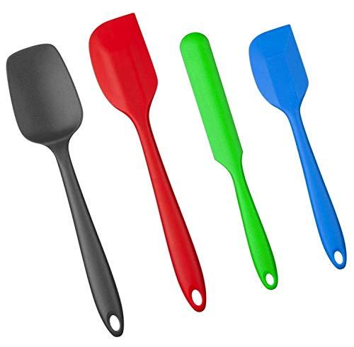 Amazon Brand – Umi - Set di 4 spatole in silicone con anima in metallo, senza BPA fino a 220 gradi - per cucinare, cuocere e mescolare