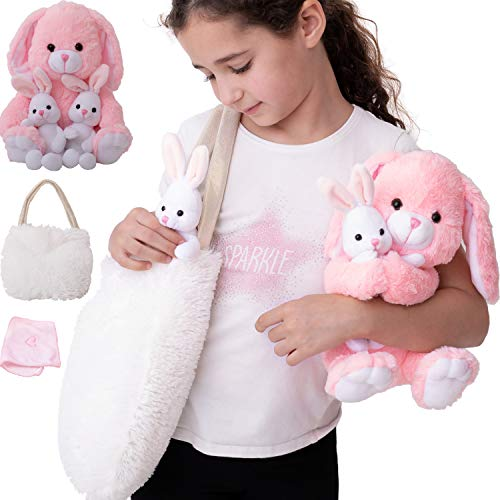 Bunny Toy for Girls 5 Pcs Set. Mommy, 2 Baby Rabbit Toys, XL Furry Bag and Baby Doll Blanket. Adorable Plush Gift Set 3 4 5 Year Old Girl, Stuffed Animal for Little Girls. Birthday, Christmas Age 2-8