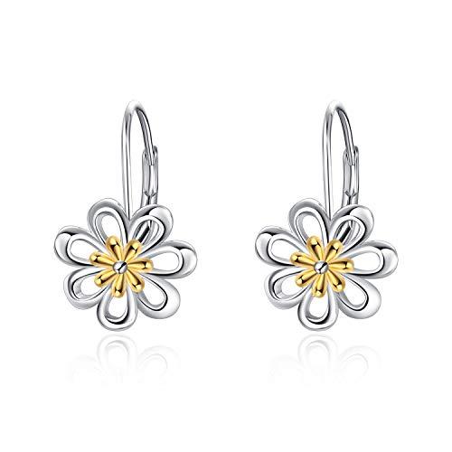 Pendientes para mujer Plata de ley Daisy Flower Leverback Dangle Hoop Pendientes Joyería Regalos para mujeres Adolescentes Niñas