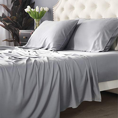 Bedsure 100% Bamboo Sheets Set Twin XL Light Grey - Cooling Bamboo Bed Sheets for Twin XL Size Bed with Deep Pocket 3PCScs