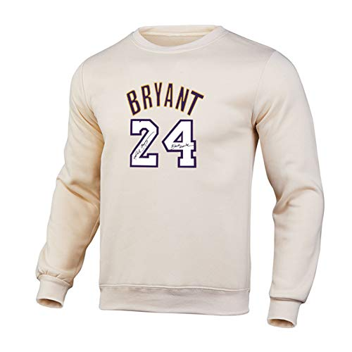 Kobe Bryant 24# Los Angeles Lakers Basketball Pullover Hoodie -Pulver Lose Hip Hop T-Shirt Unisex Basketball Langarm Training Shirt Beige-L