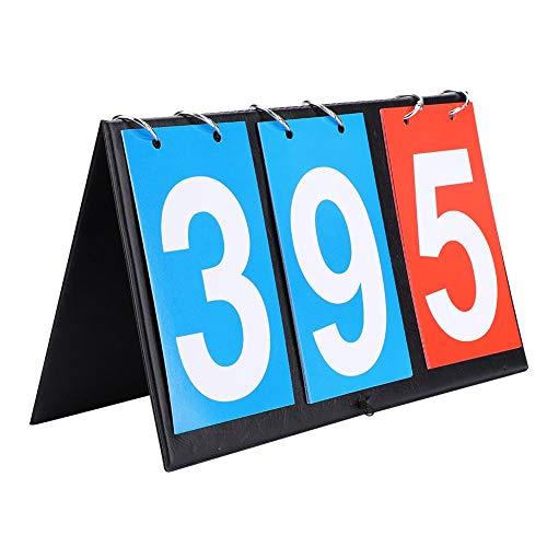 Sorand Marcador Deportivo, Tablero portátil de tirón, Tablero 2/3/4 Puntuador del dígito Puntuador del Tirador para Fútbol/Voleibol/Baloncesto/Tenis de Mesa/Ping Pong(3 digitos)