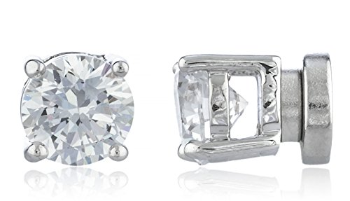 Silvertone Magnetic Earrings with Clear Cz Round - 4mm to 12mm (6 Millimeters)(E-1523)