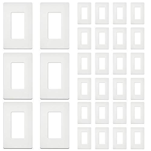 """[30 Pack] BESTTEN 1-Gang Screwless Wall Plate, USWP4 White Series, Decorator Outlet Cover, H4.69"""" x W2.91"""", for Light Switch, Dimmer, USB, GFCI, Receptacle"""