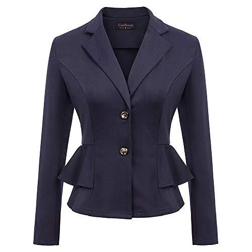 Curlbiuty dames vintage pak jas lange mouwen omlegkraag ruches decoratie blazer elegant business jas jas