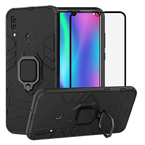 BestAlice for Huawei P Smart 2019 / Honor 10 Lite case, Hybrid Heavy Duty Protection Shockproof Defender Kickstand Armor Case Cover Tempered Glass Screen Protector,Black