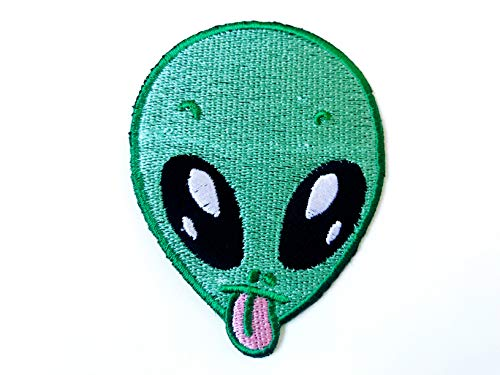 TH Green Alien Head Funny Cute Cartoon Biker Motorcycle Logo Embroidered Sew on Iron on Patch for Backpacks Jeans Clothing Costume