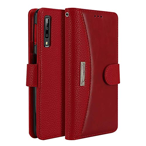 LOKAKA Coque pour Samsung Galaxy A30S A50 A50S Coque,Pochette Housse Etui [Porte Carte Credit Ticket Metro], [Fonction Stand Video],[Fermeture Magnetique] - Rouge