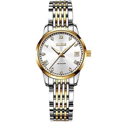 RORIOS Damen Automatikuhr Mode Leuchtend Armbanduhr mit Edelstahl Armband wasserdichte Diamant Uhr Mechanische Damen Uhren