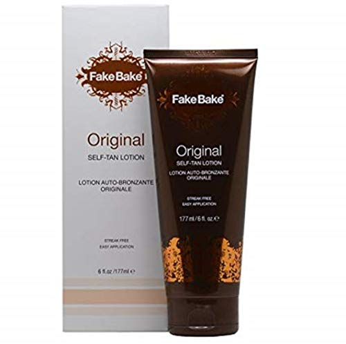 Fake Bake Original Self-Tanning Lotion | Fast Acting, Natural Looking Sunless Tan For All Skin Tones | Streak Free, Flawless Glow Includes Gloves For Easy Application | 6 oz