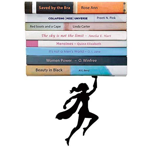 Artori Design | Wondershelf| Estante metálico flotante de superheroína en color negro | Estante para libros original | Regalo para geeks | Regalo ideal para lectores | Apilador de libros original | Regalo ideal para mujeres heroínas | Regalo ideal para el día de la madre