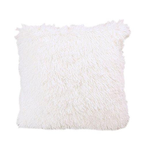 Luwu-Store Housse d'oreiller taie d'oreiller en Fausse Fourrure Blanc