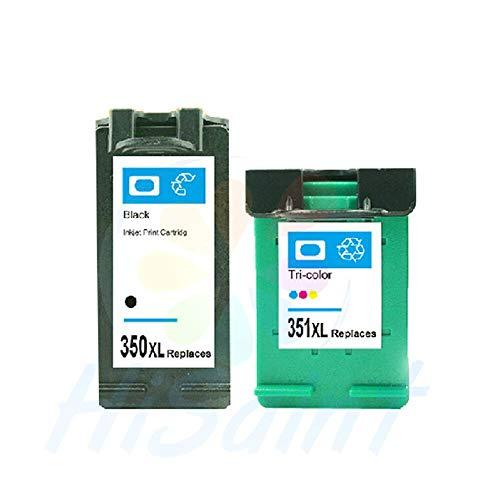 GWTRY Hisaint Ajuste for HP 350 Negro, Ajuste for HP 351 Cartuchos de Tinta de Color se Ajusta for HP DJ D4260 / C4280 / D4360 / J6480 / C5280 / J5780 Impresora En una pérdida