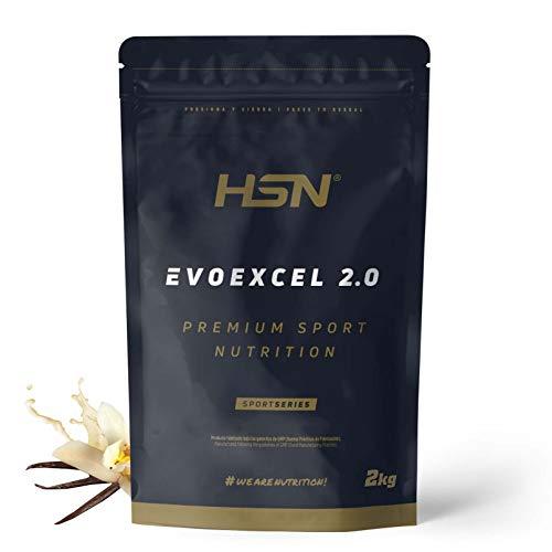 Whey Protein Isolate + Concentrate de HSN Evoexcel 2.0 | Batido de Proteínas con Enzimas Digestivas + Probióticos + Calostro | Vegetariano, Sabor Vainilla, 2Kg