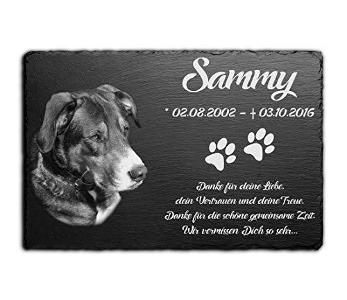 Premium Grabstein für Hunde & Katzen aus Schiefer mit Gravur / Foto | Gedenktafel Hund mit Bilder und schönen Motiven | ideal als Grabplatte für ein Urnengrab von Tieren | 30x20 cm | selber gestalten