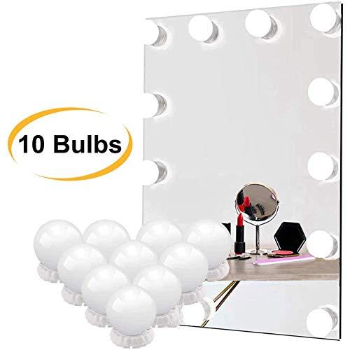 LED Spiegelleuchte, Schminktisch Beleuchtung, 10 LED Schminklicht Hollywood Stil 10 Dimmbar, 3 Farbtemperatur Spiegellampe USB-Kabel Make up Licht Spiegel Lichter Schminktisch Leuchte Licht