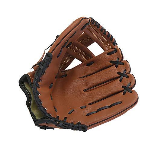 Aisennek Guante de béisbol Guantes de bateo Deportivos al Aire Libre Guante de béisbol Guante Suave Sólido PU de Cuero espesante de Espesamiento Guantes de Softball (Marrón, 12.5 Pulgadas)