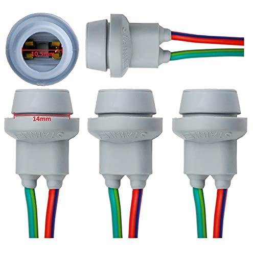 L & P B570 Lot de 4 lampes T10 W5 W W2,1 x 9,5d caoutchouc Capacité Douille Culot de lampe en caoutchouc Base en verre pour ampoules Ampoules Lampes