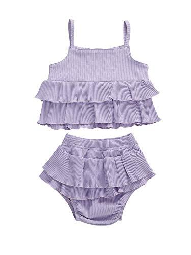 BriskyM Baby Mädchen Kleidung Sets, Neugeborene Baby Mädchen niedlichen Riemen Rüschen Weste Tank Top + Bottoms Shorts Hosen Outfits Set (Purple, 12-18Months)