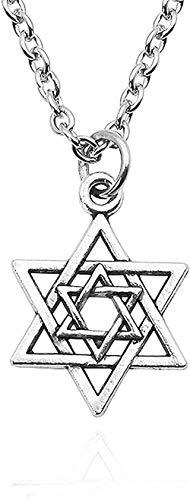 Steampunk hexagrama colgante collar pequeño triángulo invertido hueco estrella de David colgantes collares para mujeres hombres collares