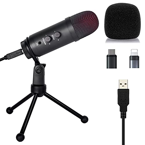 USB Microphone with Reverb/Volume Knob USB Condenser Microphone for PC/Micro/Mac/iOS/Android Recording Mic for Gaming, Streaming, Podcasting, Voice Over, Studio, Compatible with Laptop & Desktop