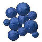 QIXINHANG LIHAO - Farolillos de Papel de Color Azul Oscuro, Pantalla Redonda, lámpara de Alta duración, decoración de farolillos de Papel – (10 Unidades) (Varios tamaños) (Embalaje múltiple)