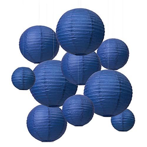 LIHAO Papier Laterne Lampions rund Lampenschirm Hochtzeit Dekoration Papierlaterne Dunkelblau - (10er Packung) (Verschiedene Größen) (Verpackung MEHRWEG)