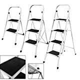3 Step Ladder, Heavy Duty Steel, Folding, Portable, Compact with Anti-Slip Mat Max Load Capacity up to 150 kg Tested and Certified