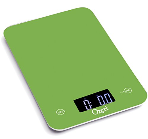 Ozeri Touch Professional Tempered Glass Digital Kitchen Scale, Lime Green