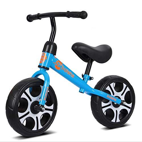 Bicicleta de equilibrio para niños, sin pedal, con marco de acero al carbono, asiento ajustable y neumáticos EVA de 12 pulgadas, para niños de 3 a 6 años de edad (color: azul)