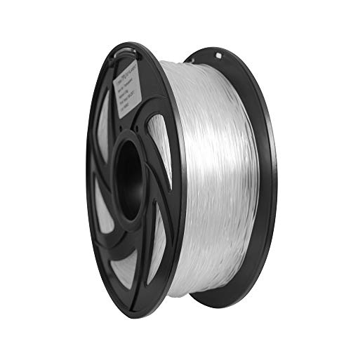 Flexible TPU 3D Printers Filament, 1.75mm,Color is Clear, Accuracy +/- 0.05mm, Net Weight 1KG(2.2LB),Transparent TPU,Hardness 95A