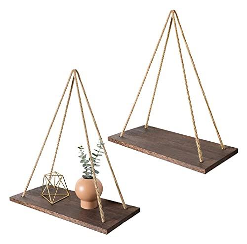Grifo Swing de madera Premium Colgando Cuerda Montado en la pared Estante Flotante Planta de almacenamiento rústico Potación de macetas Pantalla interior Decoración al aire libre Anti-moxald e imperme