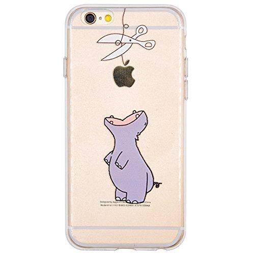 NEOFAY Cover iPhone 6 / 6S, Trasparénte Morbida Addensare Silicone Creativo Carino Modello Protezione Custodia Case (Ippopotamo)