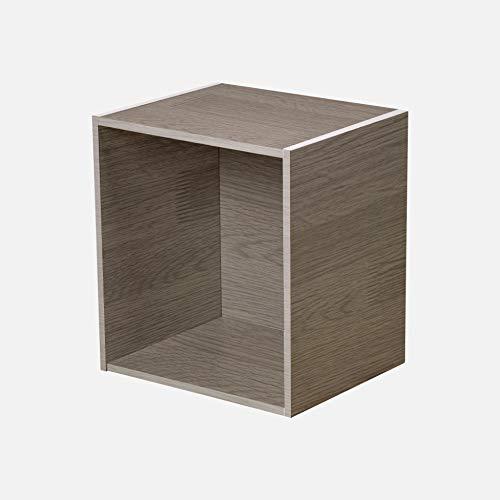 HOMEA Cube de Rangement 1 Niche, Panneaux de Particules, Gris Céruse, 34,4x29,5x34,4 cm